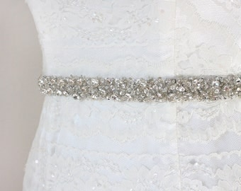 "Best Seller - CORINNE - 3/4"" Crystal Rhinestone Encrusted Bridal Sash, Wedding Beaded Belt, Designer Belts"