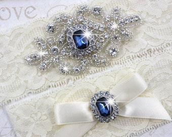 SALE - RACHEL - Sapphire Blue Wedding Garter Set, Wedding Stretch Lace Garter, Rhinestone Crystal Bridal Garters, Something Blue