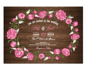 Wood Peony Wedding Invitation DIY PRINTABLE Digital File or Print (extra) Country Wood Wedding Invitation Printable Peonies Wedding Invite
