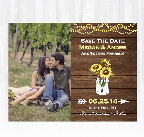 Sunflower Save The Date Magnet Or Card DIY PRINTABLE Digital