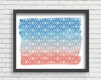 Geometric Watercolor Art Print Home Decor - Orange and Blue Watercolor Print - 5x7 or 8x10