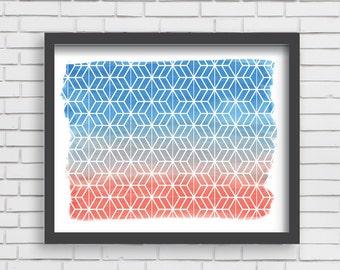 Geometric Watercolor Art Print Home Decor - Orange and Blue Watercolor Print - 5x7