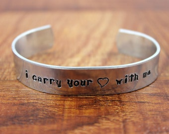 I Carry Your Heart With Me Bracelet / E. E. Cummings Quote / Miscarriage Gift / Custom Hand Stamped Bracelet
