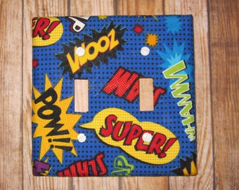 Superhero Action Words Switch Plate -  Cute for Nursery, Children's Room, Etc. - POW!