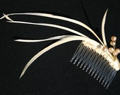 Handmade Freshwater pearls and Feathers comb - hair accessory for wedding, prom party, tea party