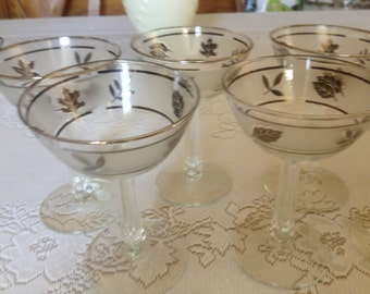 """Vintage  Set of (7)  Libbey Frosted silver leaf decorated Libbey Coupe Sherbet- Champagne Cocktail Glasses-3.25"""" tall"""