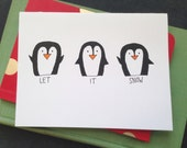 Set of 8: Penguin Christmas / Holiday Card