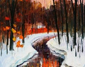 """Winter Stream — PALETTE KNIFE Contemporary Art Oil Painting On Canvas By Leonid Afremov - Size: 20"""" x 36"""" (50cm x 90cm)"""
