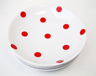 French vintage LIMOGES porcelain soup plate or salad plate with with red polka dots. Set of 4. Shabby chic