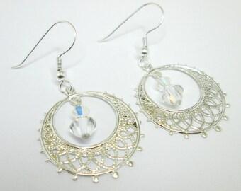 Crystal AB and silver hoop earrings, swarovski earrings, filigree earring, silver filigree, wedding earrings, bridal earrings ER012