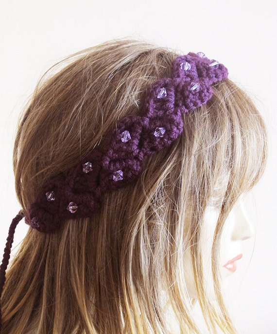 Crochet Gypsy Style Hair Band Pattern : to crochet headband hair band purple headband Boho Headband Bohemian ...