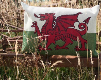 Welsh Flag Cushion, Welsh Flag Pillow, Welsh Flag, Welsh Dragon, Welsh Words, Dragon Cushion, St. David's Day Gift, Father's Day, Dad Gifts