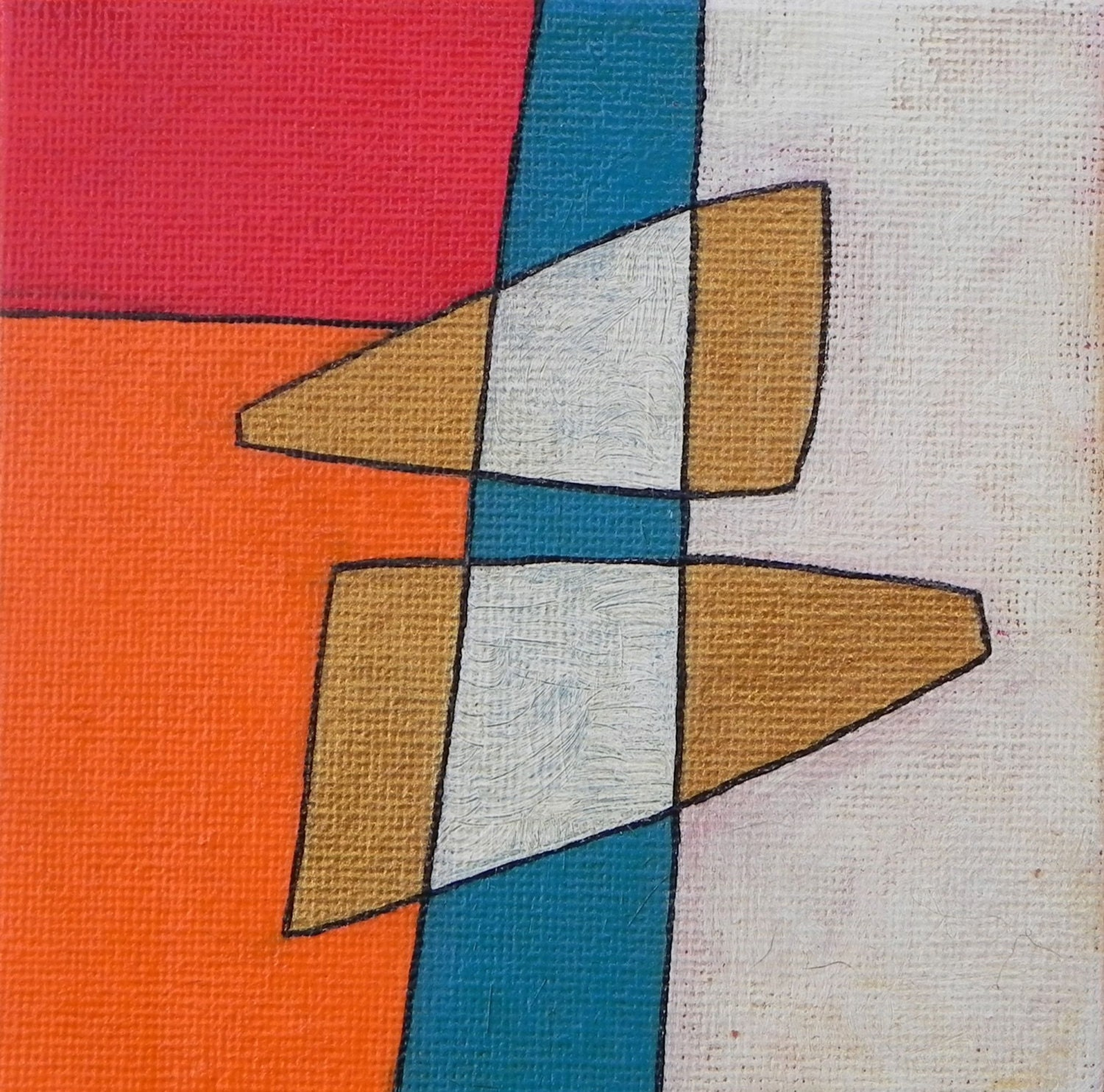 Small abstract painting canvas board orange gold red for Small canvas boards