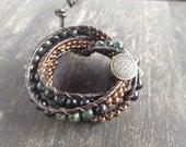 Ladder Wrap Bracelet with Serpentenite and ceramic metallic beads