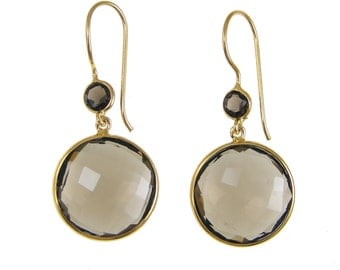 Smoky Quartz Earrings - Gemstone Gold Dangle Drop Earrings