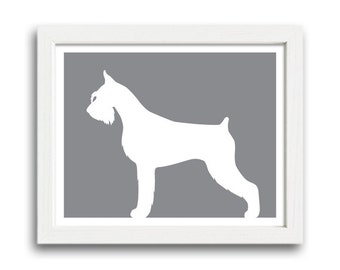 Giant Schnauzer Print (Cropped Ears and Docked) - Giant Schnauzer Silhouette - dog art, dog gift
