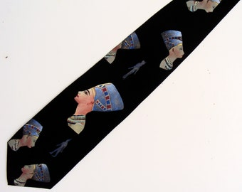 Hand Painted Men Silk Necktie Novelty Art Tie Egyptian Lady on Black