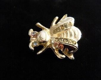Bee Brooch or Pin with Rhinestone Eyes
