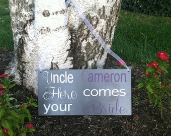 Here Comes the Bride Sign Ringbearer/Flowergirl Sign -- Wedding Signs  - Wedding Signage