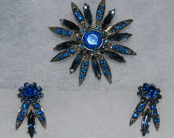 signed selini brooch and earring set