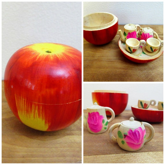 Vintage Wooden Apple Tea Set Miniature Apple Teaset Japan