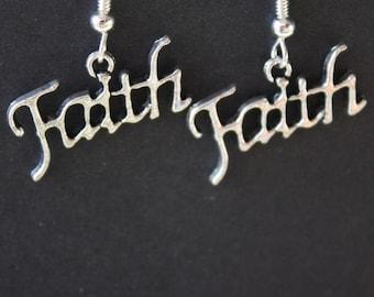 Delicate handwritten in silvertone sign of you FAITH earrings