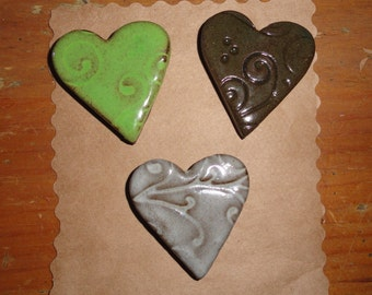 Heart Pottery Magnets, Set of 3, Valentine's Day