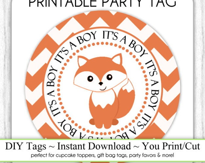 Printable Fox Party Tags, Instant Download, Chevron and Fox Baby Shower Printable Party Tag, Cupcake Topper, DIY, You Print, You Cut