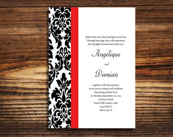 wedding invitations Black and Red Damask wedding invite