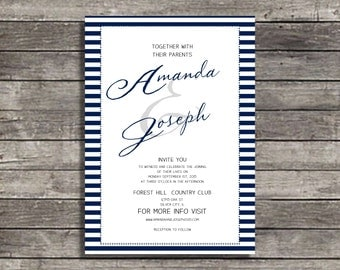 Navy Blue stripes wedding invitation suite  Suite, Custom Invites, Personalized invitations Budget wedding