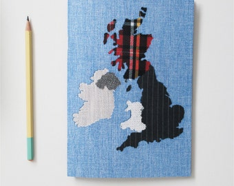British Isles Fabric Map Print A5 Notebook