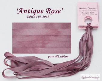 Hand dyed 4 mm wide pure silk ribbon, soie de ruban - 'Antique Rose'