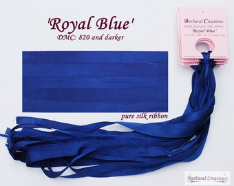Hand dyed 2 mm wide pure silk ribbon, soie de ruban - 'Royal Blue'