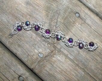 Alternating Romanov Chainmail Bracelet - Purple Glass Beads Chainmail Jewelry Chainmaille Bracelet OOAK Bracelet Purple Bracelet