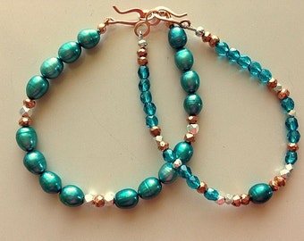 Aqua Blue Pearls and Mixed Metals Bracelets Set or Single - Copper and Silver with Blue Pearls