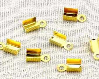 Crimp End Fastener Clip -400pcs Antique gold Clasp Clips Wholesale Jewelry Findings 3x4mm