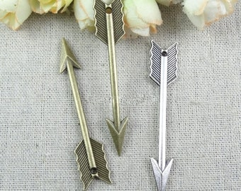 arrow charm -30 pcs   antiqued bronze or silver Cupid arrow charm pendant  62×11mm