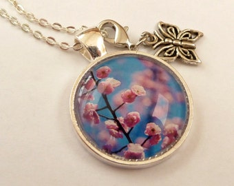 Spring flowers with cherry blossom, butterfly necklace, silver necklace