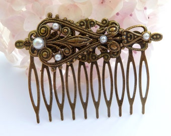 Baroque hair comb in bronze , festive hair comb, antique hair jewelry, bridal hair comb, hair cameo jewelry, LARP hair comb