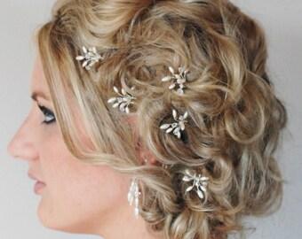 Rice Pearl Crystal Bridal Hair Pins, Wedding Hair Accessories, Formal Hair Pins, Swarovski Crystal Customised Hair Pins, Bridal Hair Piece