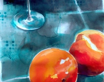 "Peachy-archival reproduction print of an original acrylic painting- 11""x14"""