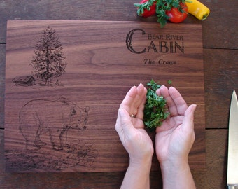 Custom Cutting Board with Bear and Cabin Host Hostess Gift Country Decor  Personalized Outdoor Life Lovers Christmas Gift