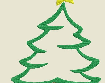 Christmas Tree 1 w/ Star Fill and Applique Machine Embroidery Design