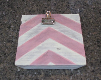 """6"""" by 6"""" Painted Wood Clip Board Picture Holder in Pink and Cream Chevron Stripes"""
