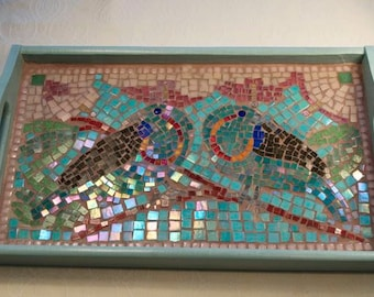 Birds of Paradise mosaic tray