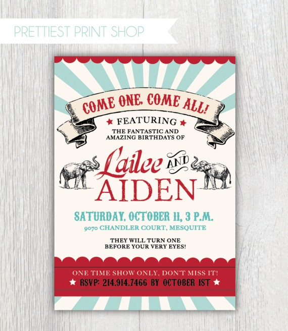 Printable Joint Birthday Party Invitations ~ Printable circus invitation vintage joint birthday party first boy