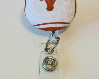 Fun Burnt Orange and White Longhorns Inspired Fabric Button Retractable Badge Reel Clip