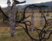 Silver captured bead chain maille bracelet and earring set with tanzanite and violet Swarovski elements