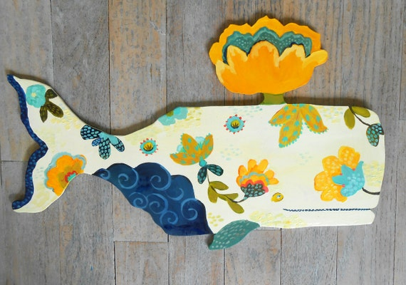 Lotus Whale Wood Wall Sculpture by Kimberly Hodges, sperm whale, wood whale, beach decor, coastal decor, provence style
