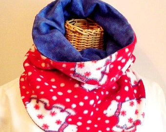 Fleece Neck Warmer, Polar Bear Winter Fleece Flannel Lined Cowl Gaitor, Red White Blue Infinity Scarf, Bib-style to Tuck in Jacket iycbrand
